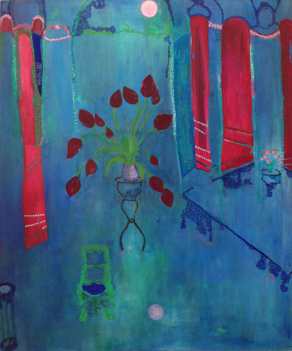 The Blood Tulips in The Blue Room (120cm x 100cm)