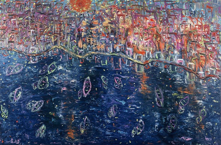 Sunset in The Harbour (100cm x150cm)